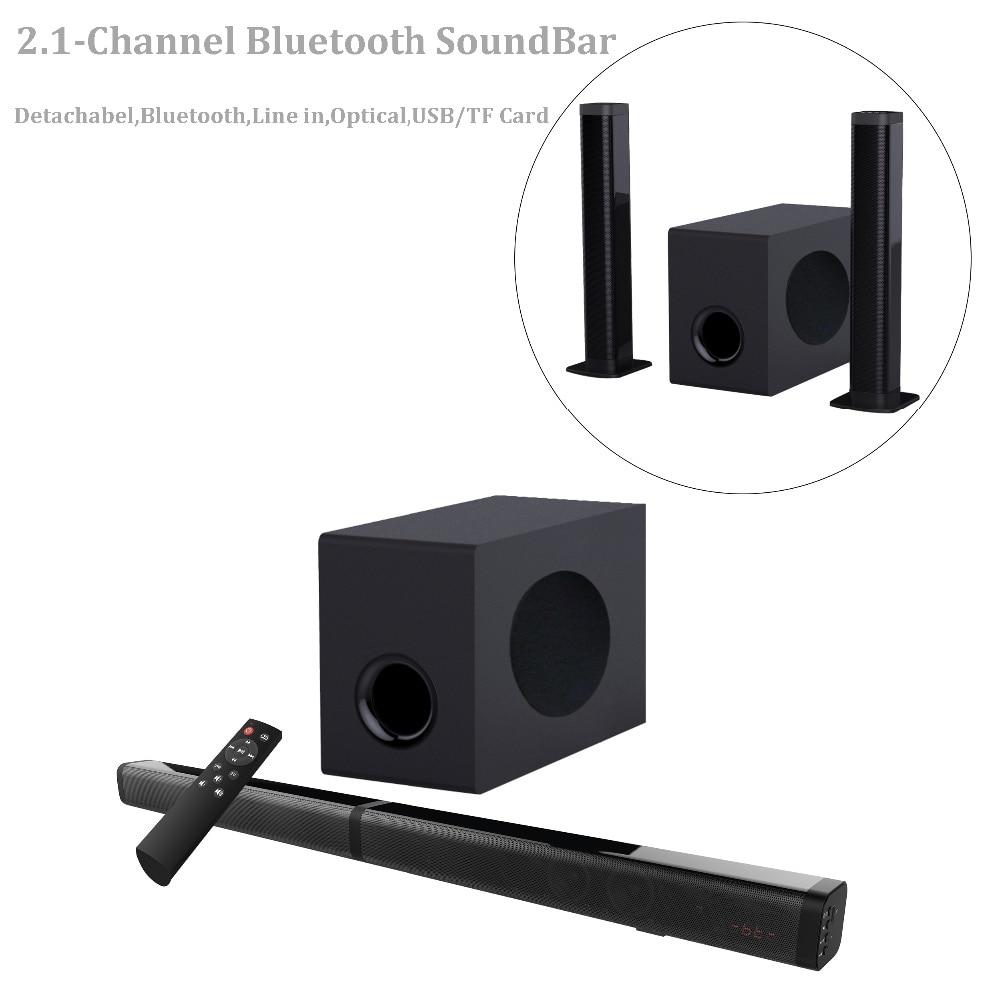 2,1 канальный съемный звуковой бар, Саундбар SAMTRONIC TV с сабвуферами беспроводной и проводной Bluetooth 4,2 звуковые бары, домашний кинотеатр
