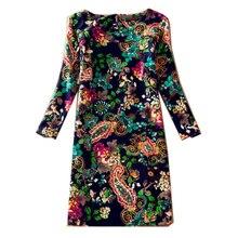 Для женщин зимние платья 2017 с длинным рукавом Винтаж Цветочный принт Женское платье осень, для женщин Повседневное Офисные наряды Большие размеры платье DR240