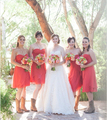 2017 Coral A-Line Short Bridesmaid Dress Sweetheart Off Shoulder Chiffon Maid of Honor Knee-Length Wedding Party Gown BD102