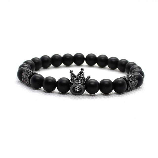 Bracelet Men Accessories Matte Oxyn Stone Beads Skull Erkek Bileklik Set Crown Jewelry Mens Bracelets For Women Pulseras Mujer 4