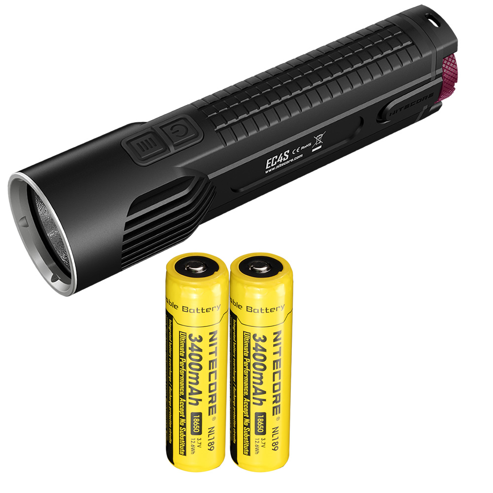 NITECORE EC4S with 2x18650 Rechargeable Battery 2150 Lumens 8-Mode XHP-50 Emitter LED Flashlight Torch Light for Hunting Camping nitecore tm26 searching flashlight 4 cree xml2 led 4000 scorching lumens 454m distance oled display light by 4 18650 battery