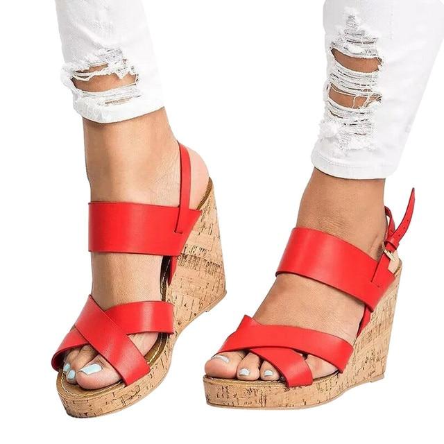 184c733b7ac Women Peep Toe Breathable Beach Sandals Boho Bukcle Strap Casual Wedges  Shoes women platform sandals female summer shoes women
