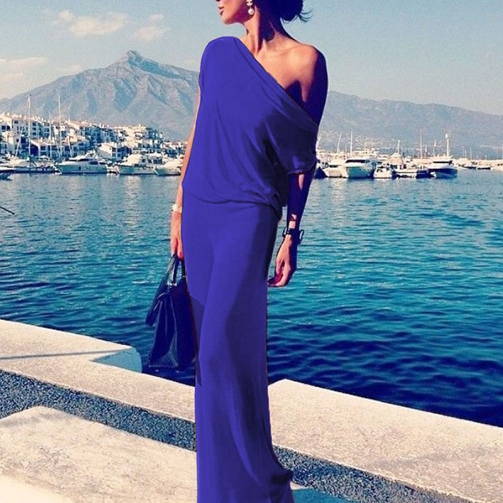 fashion Women Ladies solid color sexy One Shoulder Short Sleeve Long Maxi Dress office dress summer clothes for women ...