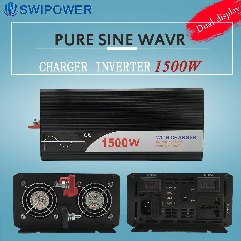 цена на ups inverter 1500W pure sine wave inverter with charger 12V 24V 48v DC to AC 220V 230V 240v solar power inverter