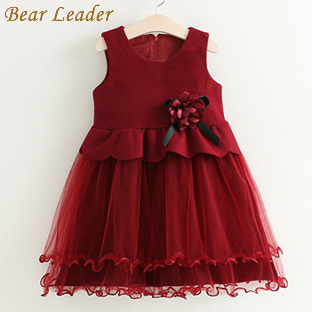 Bear Leader Girls Dress 2016 Brand Mesh Princess Dress Sleeveless Winter Thick Appliques Design for Children Dress Baby Clothes