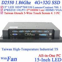 15 дюймов Промышленный Компьютер All in one PC с 5 провод Gtouch 4: 3 6COM LPT LED touch 4 Г RAM 32 Г SSD Двойной 1000 Мбит/С Сетевых Карт