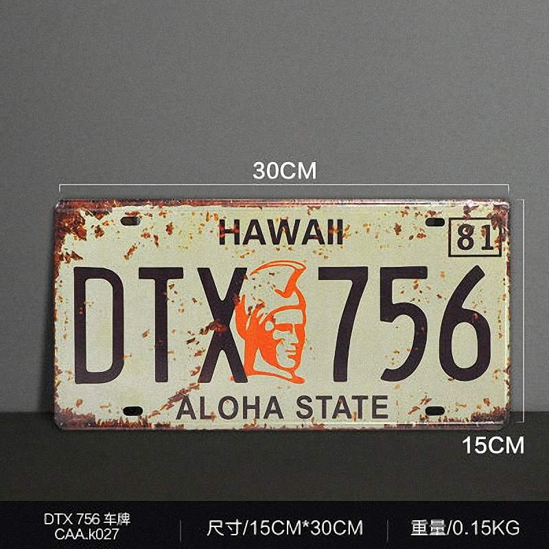 Vintage license plate HAWALL DTX 756 Metal signs home decor Office Restaurant Bar Metal Painting art 15x30 CM