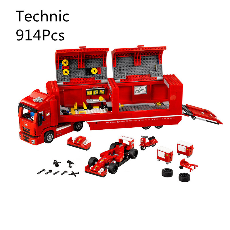CX 21010 914Pcs Model building kits Compatible with Lego 75913 Champions F14T & SCUDERIA TRUCK 3D Brick figure toys for children lepin 21010 super race formula f1 racing container truck model building kits block 914pcs bricks toys gift for children 75913