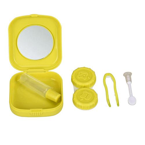 Cute Pocket  Popular Mini Square Contact Lens Lense Case Box Travel Kit Easy Carry Mirror Container Holder