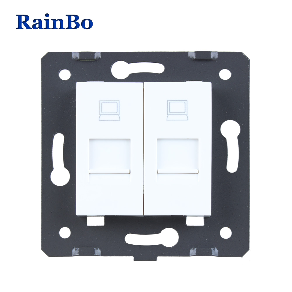 RainBo Free Shipping White Plastic Materials EU Standard DIY Accessory two Function Key For computer Socket A28COW/B welaik free shipping white plastic materials diy accessory function key for phone and usb socket eu standard a8tpus