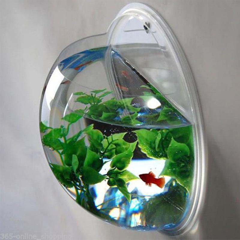 Clear Wall Mounted Hanging Acrylic Fish Bowl Aquarium Tank Plant