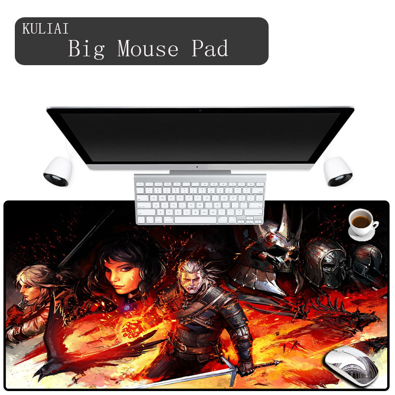 KULIAI The Witcher Gamer Mouse Pad Large Size Desk Pads Pad Mouse Gaming Mouse Mat 3D Printing Rubber for Rainbow Six Siege Pubg