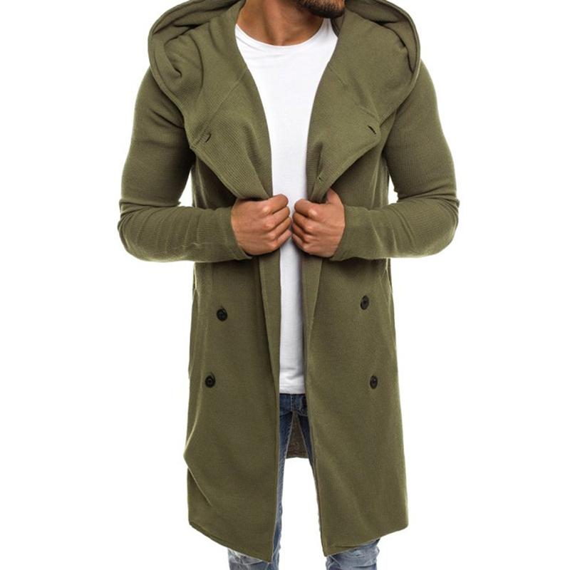 Xin yeah Coat Men Thick Casual Long Trench Wool Warm Single Breasted Slim Black L