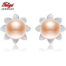 FEIGE 6-7mm Pink Natural Pearls 925 Sterling Silver Stud Earrings For Womens Exclusive Design Shell Carvings Fine Jewelry