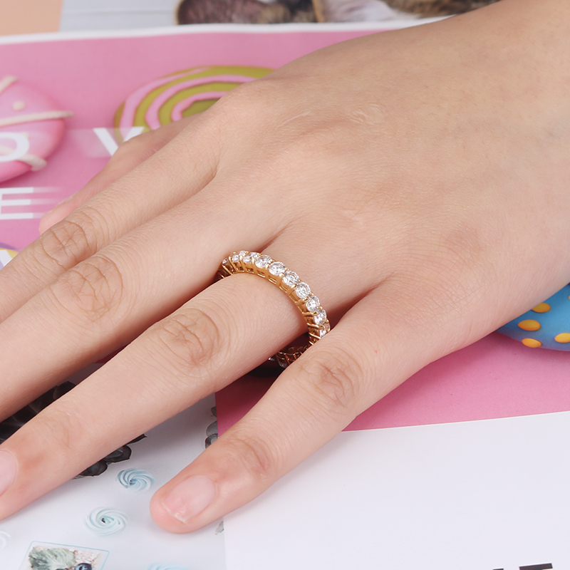 YaHui stainless steel gold simple ring high quality Full of with sto rings for women female ring female ring jewelry accessories in Engagement Rings from Jewelry Accessories