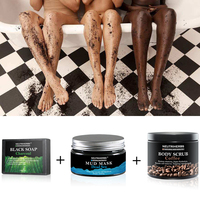 Neutriherbs Face Anti Wrinkle Kit Dead Sea Black Mask Coffee Body Scrub Bamboo Charcoal Soap Cleanser