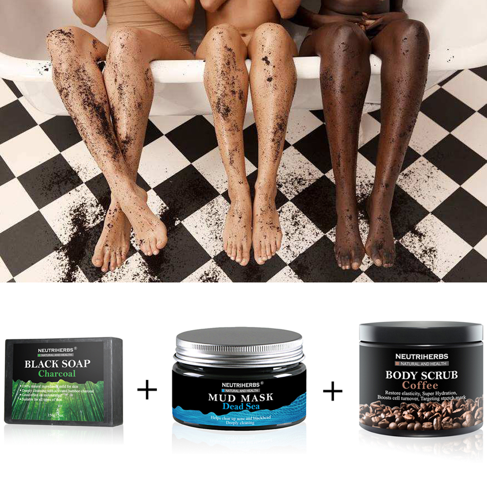 3 in 1 Set Face Black Blackhead Remover Mask Dead Sea Mud Mask Coffee Body Scrub Cream White Soap Cellulite Treatment Coconut gigi mud soapless soap