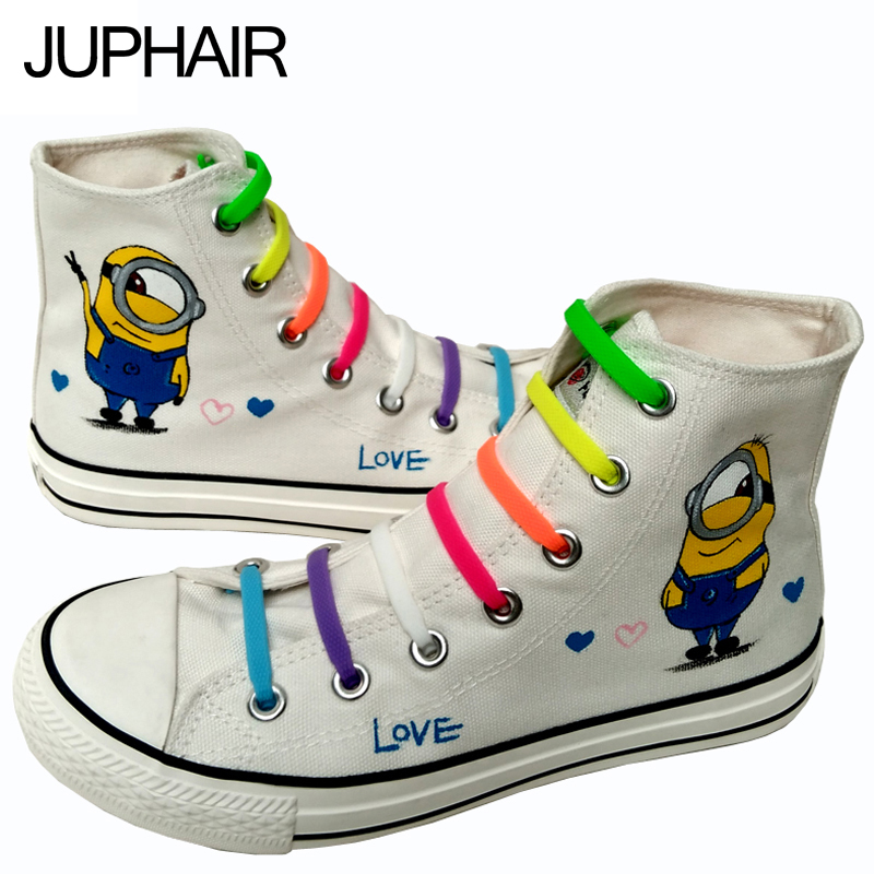 ФОТО JUP  Men Mans Boys New Graffiti Anime Cartoon Figure Despicable Me Minion Hand-painted Canvas Shoes Lazy Shoelace Gift Footwear
