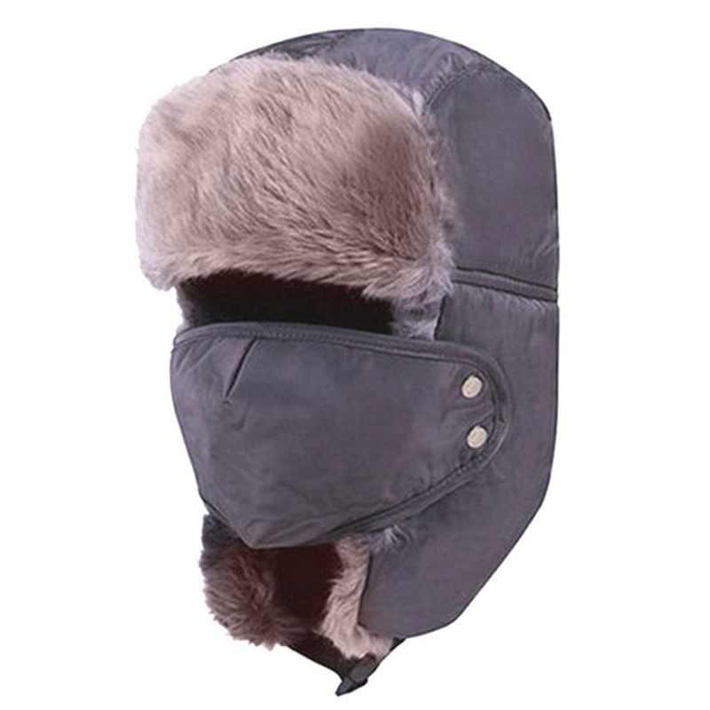 8ab657c8102 2018 Men Women Winter Fur Hats Thick Warm Fleece Face Masks Protected Ear  Ski Mask Hat