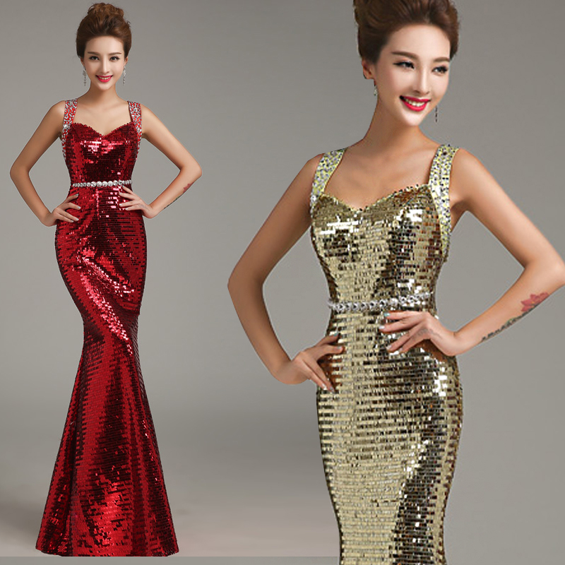 98f987391a3f5 Fish Tail Evening Dress 2015 Fashion Bright Sequins Evening Dress Red  Paillette Long Design Crystal Slim Evening Gown Plus Size