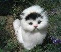 Artificial gato brinquedo animal simulação polytene & fur cat toy kids presente mobiliário de casa 15x18x10 cm