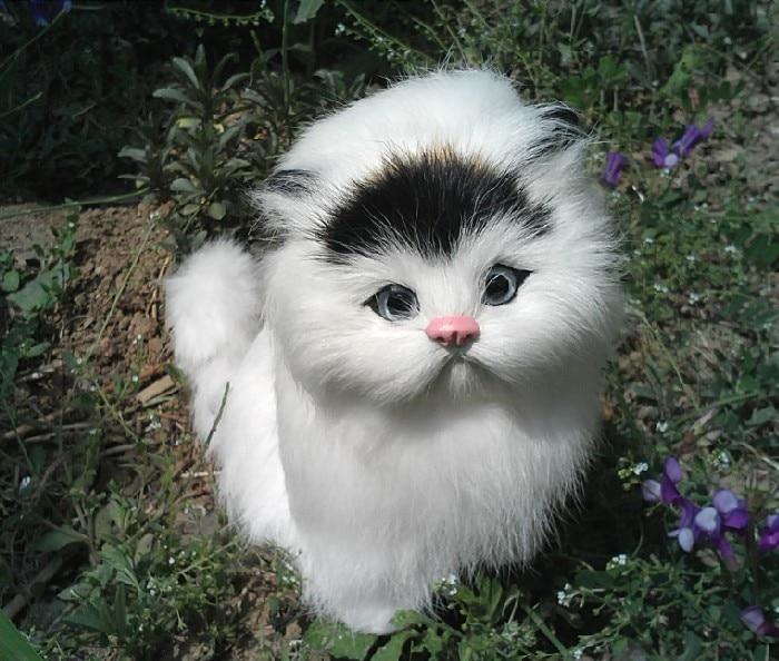 인공 고양이 시뮬레이션 동물 polytene & 모피 고양이 아이 장난감 집 선물 15x18x10cm