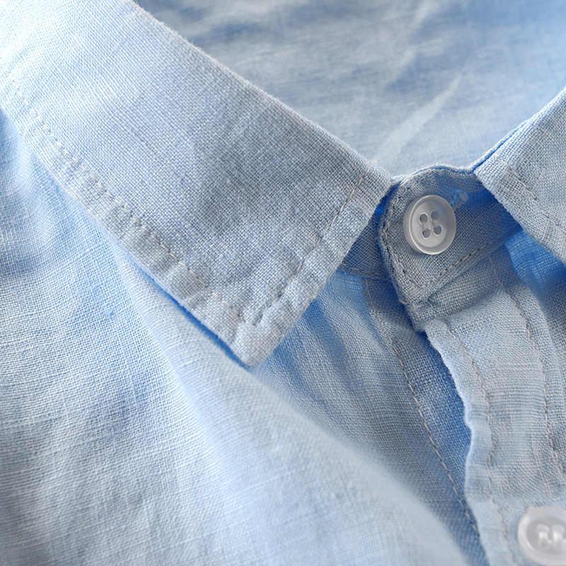 2018 Новая летняя Мужская льняная рубашка, Мужская брендовая рубашка с рукавом три четверти, мужские синие градиентные рубашки, мужская повседневная рубашка, Прямая поставка