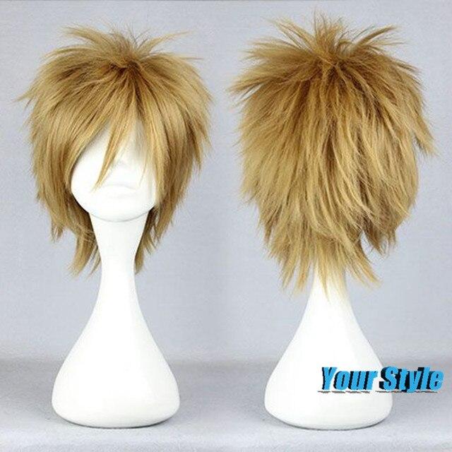 30 Cm Słodkie Krótkie Blond Fryzury Mężczyzna Cosplay Włosów Peruki