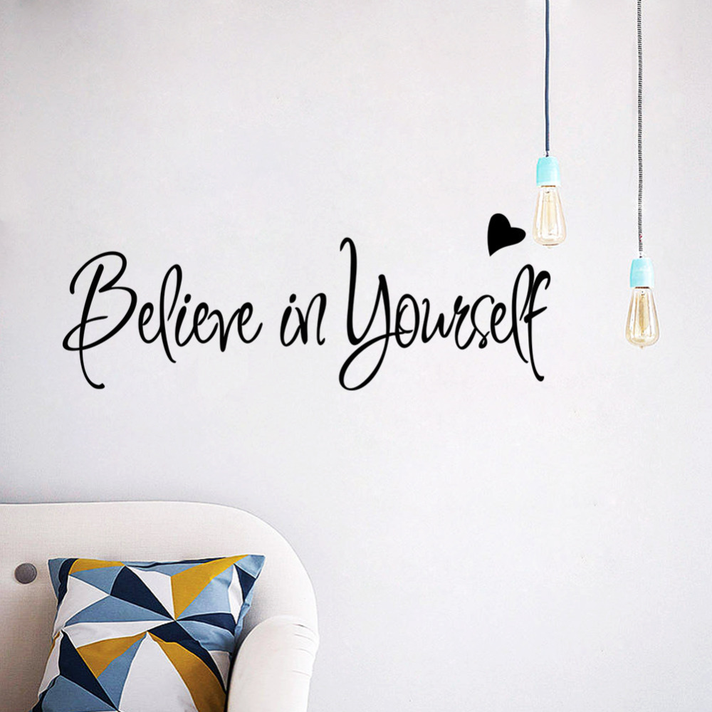 Believe In Yourself Quotes Decorative Wall Stickers For Home Vinyl ...