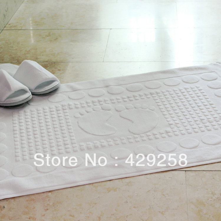 Free Shipping Hot Sale High Quality Five Star Hotel Bath Mat 46 79cm 350g White Cotton Towel