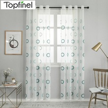 Topfinel Blue Endless Embroidered Branches Window Sheer Voile Curtains Lined Drapes Tulle For Living Room Bedroom Kitchen