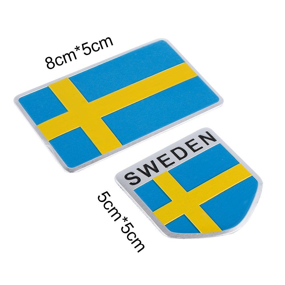 Grill Decal  Auto Emblem  Car Sticker 3D Aluminum Sweden Flag Bumper Decoration