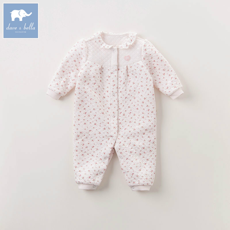 DB6043 dave bella autumn new born baby girls cotton romper infant clothes children floral romper toddler baby 1 piece