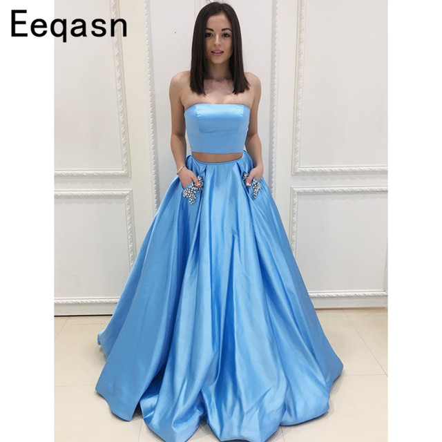 7050567aa1 Strapless A-line Prom Dresses 2018 Long Two Piece Formal Floor Length Women Evening  Dress for Graduation Party Gowns with Pocket