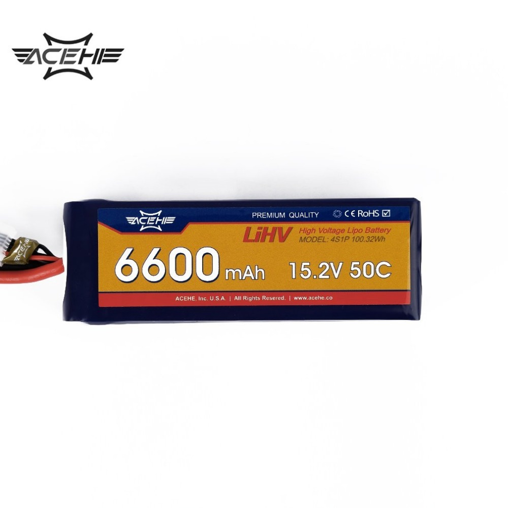 ACEHE 1pcs 15.2V 6600mAh Lipo Battery 50C 4S1P 100.32Wh with XT60 Plug High Voltage стоимость