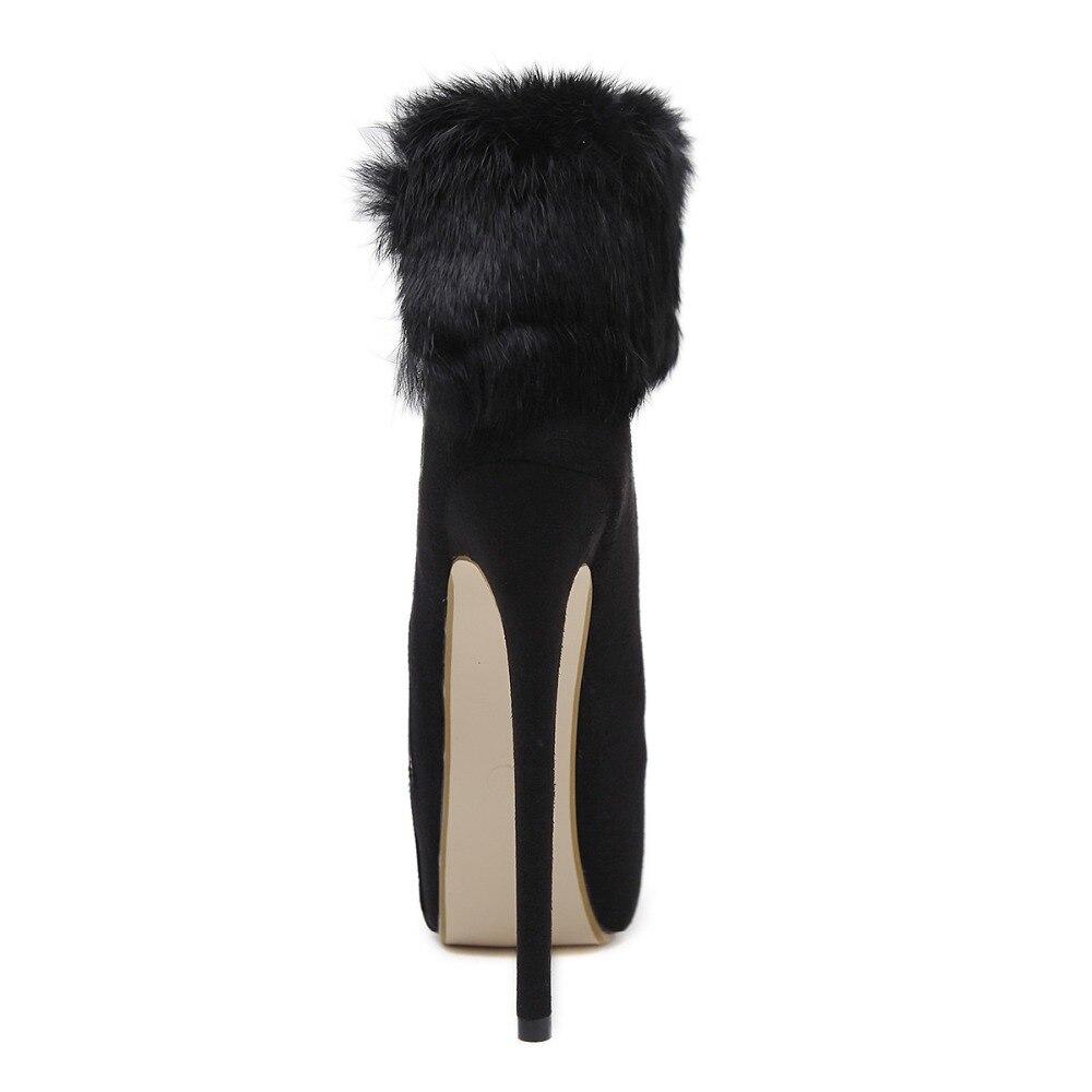 Moda Delgados Conejo Los De Negro Botas Pelo Altos Zapatos Botines Tobillo Invierno Plataforma Tacones Sexy Mujeres Stiletto Otoño XAqv8nEq