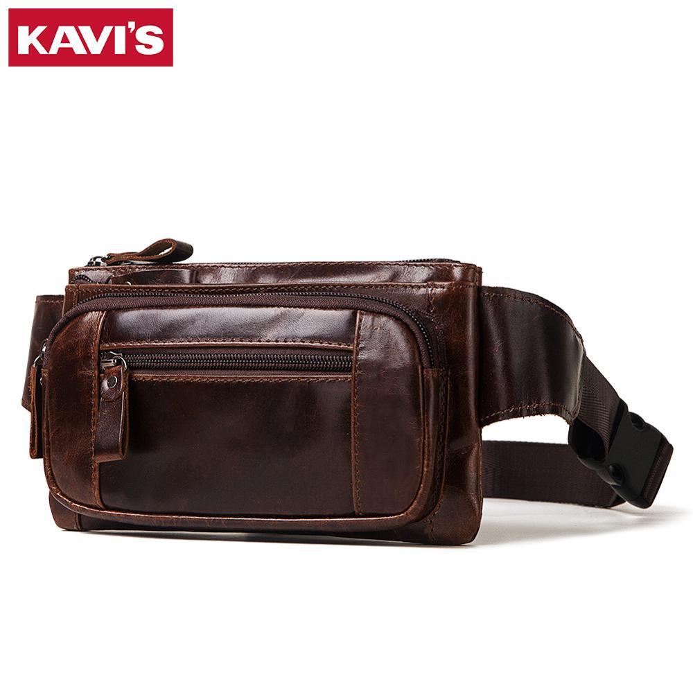 Image 2 - KAVIS Vintage 100% Cowhide Genuine Leather Men Waist Bag Male Packs Belt Loops Chest Bag Mobile Phone Holder Pouch Male PurseWaist Packs   -