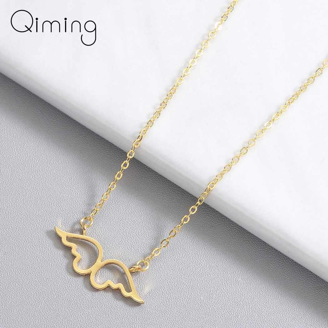Choker Stainless Steel Guardian Angel Wings Pendant Necklace Clavicle Chains Statement Necklace Women Men Jewelry
