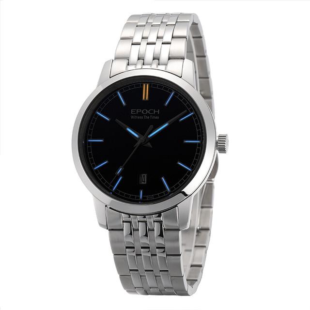 (Новый) epoch 6026G-A стали ремешок водонепроницаемый 50 м Тритий Светящиеся мужские бизнес ультратонкий Автоматический Механические наручные часы