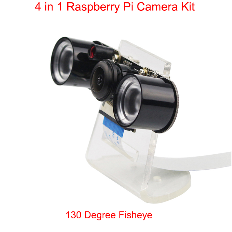 Raspberry Pi 3 Model B+ Camera Wide Angle Fish Eye Night Vision Camera +IR Sensor Light + Acryclic Holder support Raspberry Pi 3 цена