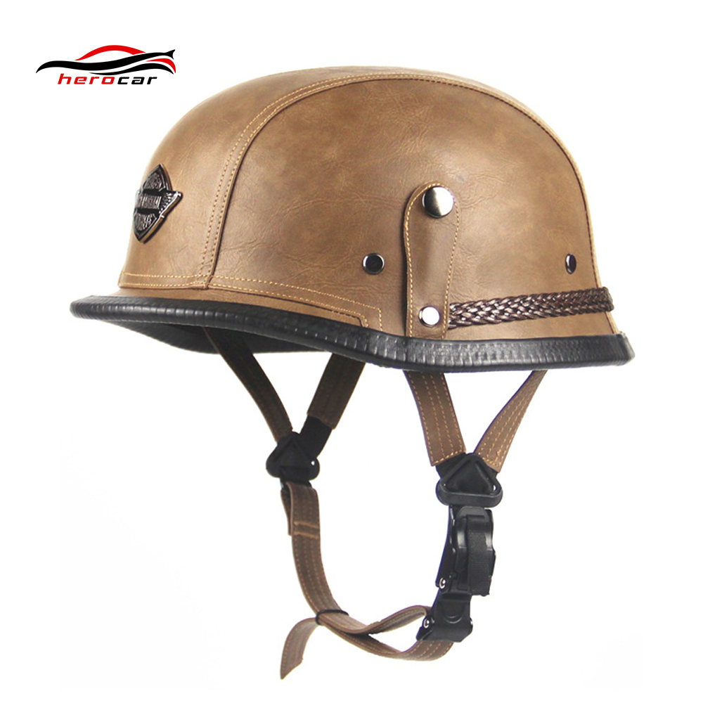 New Retro Vintage Motorcycle Helmet Scooter Cruiser Touring Chopper Half Helmet German Style Synthetic Leather Moto Helmet DOT