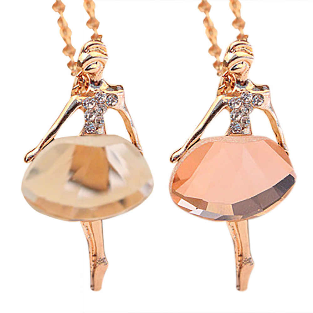 Romantis Perhiasan Ballet Girl Kalung Crystal Bor Sweater Chain Perhiasan Aksesori Kalung Valentine Hadiah Kalung Kalung