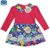Movatx H4788 Girls Party Dress Kids Wear Fleece Winter Children Dresses Baby Frocks Fashion Hot Children