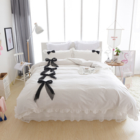 100% Cotton lace Bedding set girls women king queen twin size bed cover set korean 4pcs duvet cover bed skirt set pillowcases 36