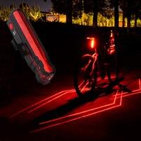Rot Fahrrad Rücklicht USB Aufladbare Laser Hinten Lampe Wasserdichte MTB Straße Sicherheit Warnung Radfahren Licht Fahrrad Zubehör