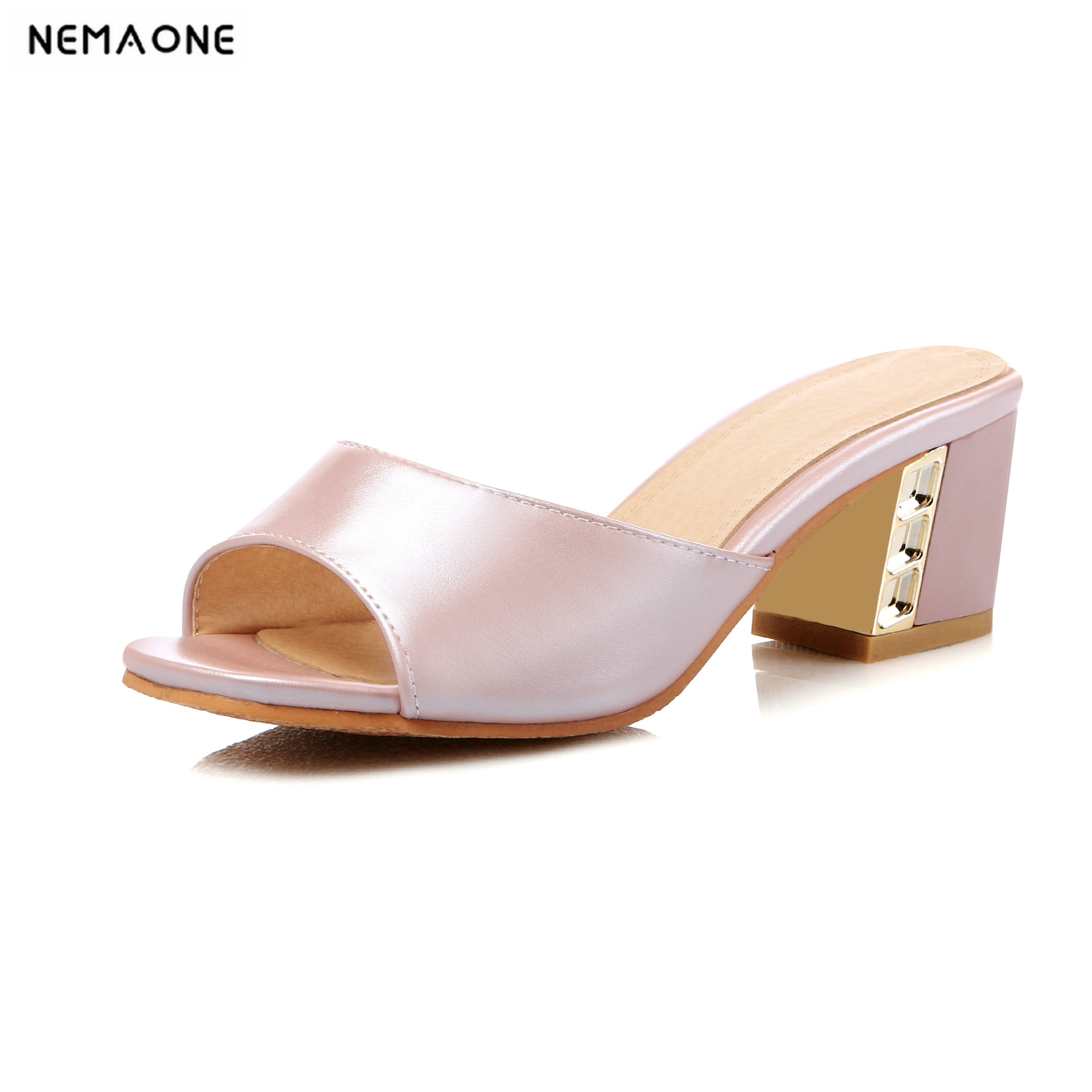 NEMAONE 2018 Summer Square Medium Heel Slippers Fashion Luxury Sandals pu Slides Causal Flip flops Beach Shoes Woman selens pro 100x100mm 12nd square medium