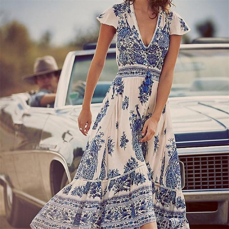 Womens Boho Sundress 2019 New Floral Printed Sexy