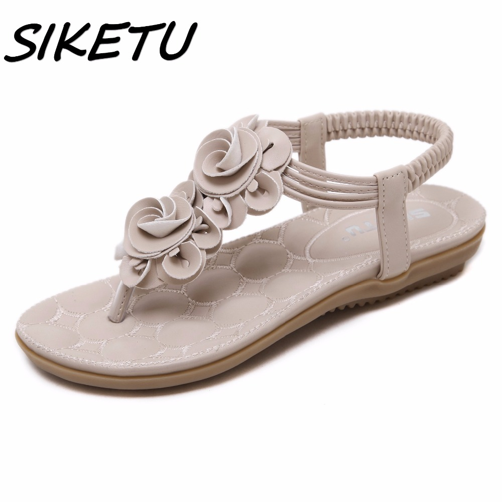 SIKETU New Women Summer Casual Bohemia Flat Sandals Shoes Woman Flower Flip flop Sweet Beach Sandals Shoes Size 35-41 siketu sweet bowknot flat shoes soft bottom casual shallow mouth purple pink suede flats slip on loafers for women size 35 40
