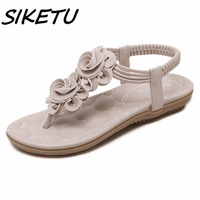 SIKETU New Women Summer Bohemia Pu Flat With Sandals Shoes Woman Flower Folder Foot Party Sweet