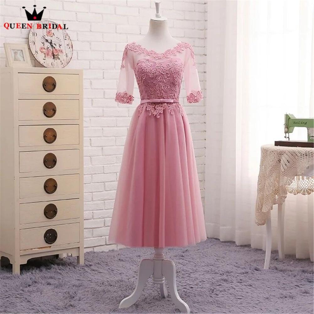 QUEEN BRIDAL Tea Length A-line Tulle Lace Half Sleeve Formal Short   Evening     Dresses   Vestido De Festa Longo 2018 New Fashion DR05M